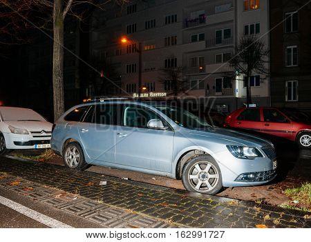 Skoda Superb Car Parked In City