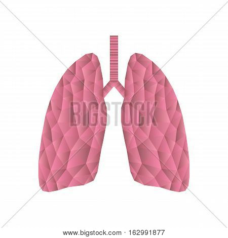 Polygonal lungs isolated on white. Abstract low poly triangle concept. Human internal organ. Medical vector icon.