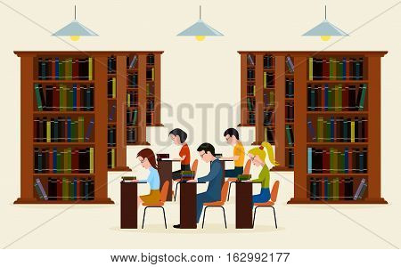 On the image presented People in library. Concept of education. Reading in library a vector illustration.