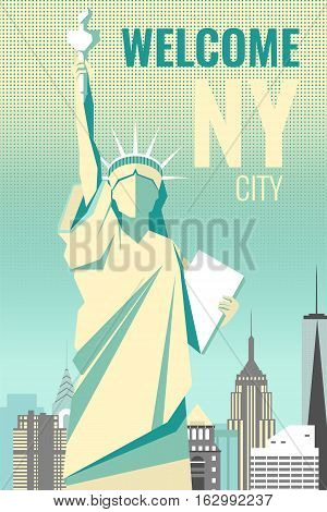 Welcome to New York poster retro design. For web banners, post card, travel advertisement.