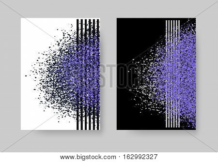 Abstract background with cloud of dust, glitter, sand. Set of artistic creative universal cards. Elegant cover, flyer, poster, invitation, placard, brochure, banner. A4 size. Vector illustration eps10