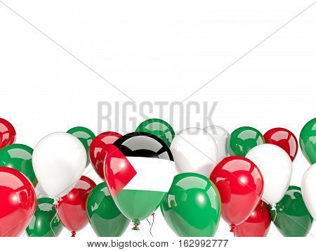 Flag Of Palestinian Territory With Balloons