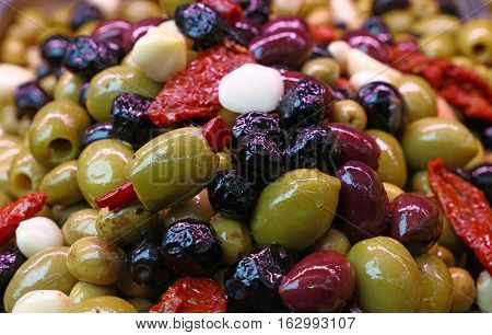 Salad Mix Of Olives In Oil Close Up