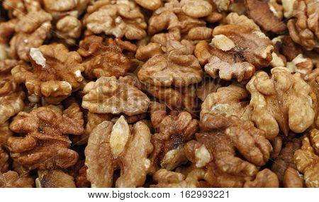 Shelled Walnuts Close Up