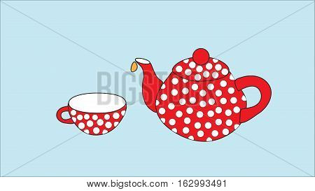 Dishes for tea. Red teapot and cup on a blue background.