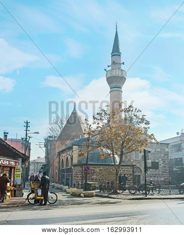 KONYA TURKEY - JANUARY 20 2015: The old town boasts a lot of mosques and mausoleums as the medieval capital of Seljuk Sultanate on January 20 in Konya.