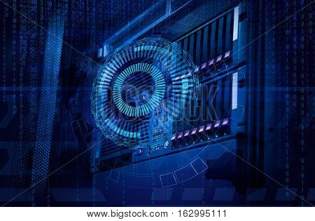concept of disk storage data center. Information technology and database on background