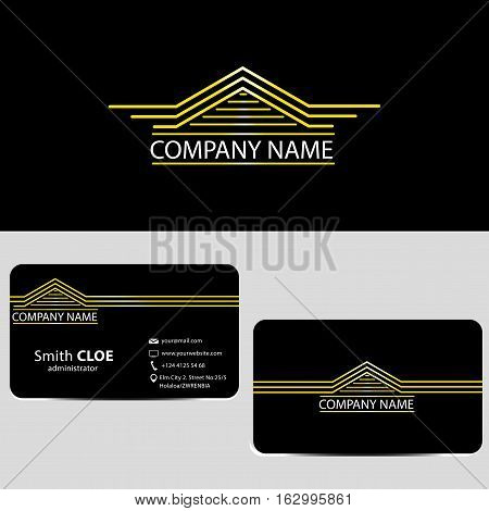 Luxury House Logo and Business Card with Black Background, Golden Logo and Great Business Card, Eps8, Vector, Illustration