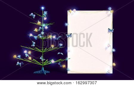 Mockup poster with Christmas tree and butterflies on the blue background. New Year 2017 spruce with illuminated garland and Christmas balls. 3 D rendering