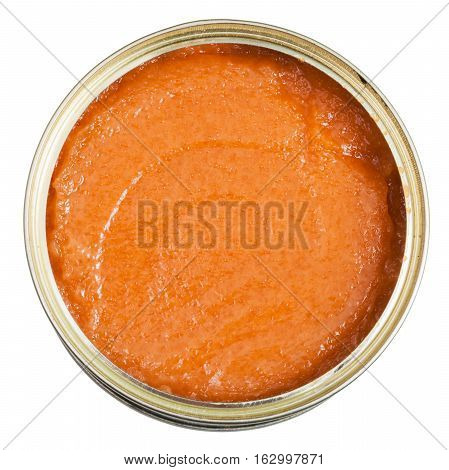 Top View Of Open Tin With Caviar Of Common Carp