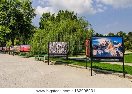 Ljubljana, Slovenia - September 10, 2016: the photo exhibition in the city Park Tivoli in the centre of Ljubljana