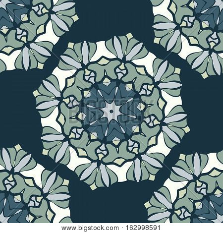 Seamless Pattern Stylized Mandala Vintage Decorative Elements in low saturated blue. Oriental pattern vector. Islamic, Arabian, Indian, Turkish, Pakistan, Chinese, Moroccan, Ottoman, Persian motifs.