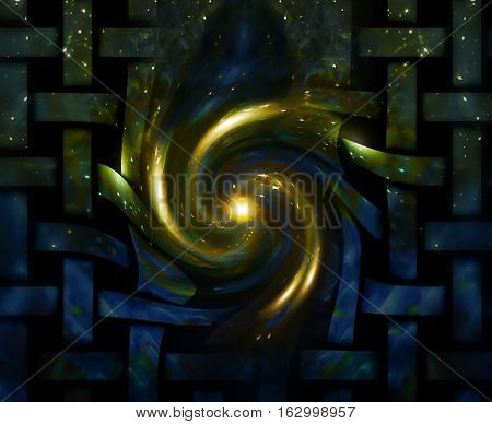 abstract cosmic background. streaming of galactic energy awakening to life and breaking throught the barriers. melting grilles on the edge