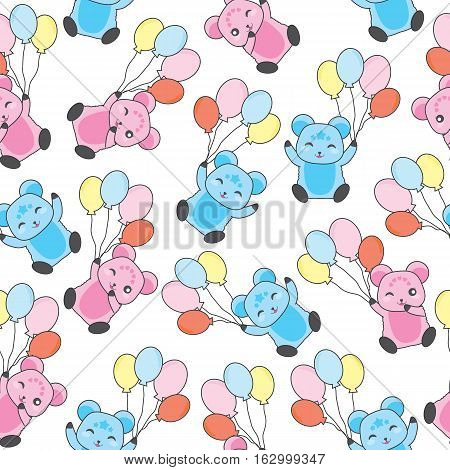 Seamless background of birthday illustration with cute bears bring balloons on white background suitable for birthday scrap paper, wallpaper, and postcard
