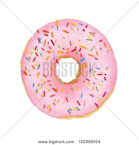 Watercolor Pink With Decorative Sprinkles Donut