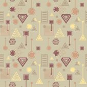 Abstract seamless pattern from geometric form in postmodern Memphis Style coffee colors for wallpaper or package or for clothes or for creative design abstract city or cafe poster