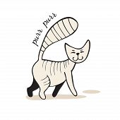 Grey cartoon tabby cat walks and purrs. Vector illustration in hand-drawn style. poster