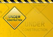 Grunge yellow under construction background in black and yellow poster
