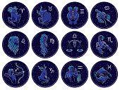 Collection of All Zodiac Signs. Vector illustration of Zodiac Signs on Night Starry Sky Background. Aries, Taurus, Gemini, Cancer, Leo, Virgo, Libra, Scorpio, Sagittarius, Capricorn, Aquarius, Pisces. poster