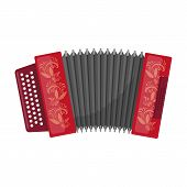 Classical bayan, accordion or harmonic icon in cartoon design isolated on white background. Russian country symbol stock vector illustration. poster