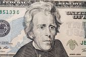 7th President of the United States Andrew Jackson Portrait on twenty dollar bill money background twenty dollar bills front side obverse. background of dollars close up America poster