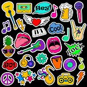 Colorful fun set of music stickers icons emoji pins or patches in cartoon 80s-90s comic style. poster