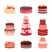 Illustration of sweet baked isolated cakes set. Strawberry icing cake for holiday, cupcake, baked brown chocolate cake for gourmet, colorful birthday celebration cherry cake bakery with . Birthday cake with candles and fruits on white background. Vector poster