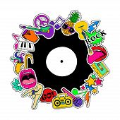 Colorful fun background of music stickers icons emoji pins or patches in cartoon 80s-90s comic style. poster
