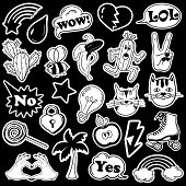 Black and white fun set of fashion stickers icons emoji pins or patches in cartoon 80s-90s comic style. poster