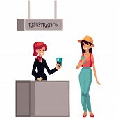 Line to airport check-in, passenger and baggage registration desk, cartoon vector illustration isolated on white background. girl waiting for check in, luggage drop, baggage registration in airport poster