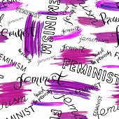 Handwritten text: Feminist feminism proud feminist smash the patriarchy. Feminism quote. Feminist saying. Brush lettering. Violet abstract stains. Seamless vector pattern. poster