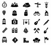 Vector Illustration of Camping and Recreation Icons. Best for Travel, Adventure, Leisure, Icon Set, Signs and Symbols, Design Element concept. poster