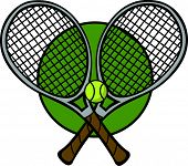 tennis rackets and ball poster