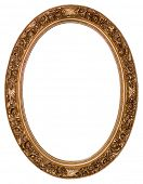 Oval gold picture frame with a decorative pattern poster
