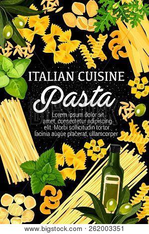 Italian Cuisine Pasta, Italy Traditional Restaurant And Home Made Pasta. Vector Spaghetti, Fettuccin