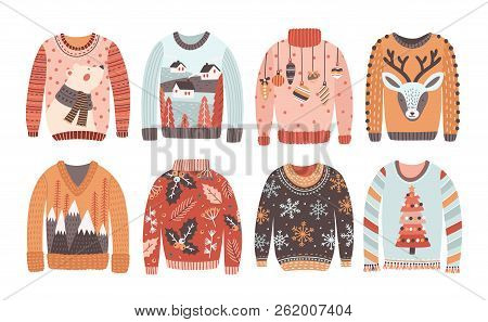 Set Of Ugly Christmas Sweaters Or Jumpers Isolated On White Background. Collection Of Winter Holiday