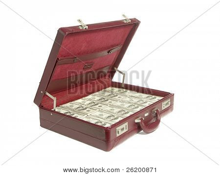Briefcase stuffed with one hundred dollar bills over white background