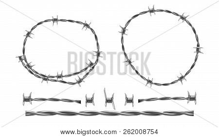 Barbed Wire Vector Realistic Illustration, Separate Elements Of Barbwire Isolated On White Backgroun