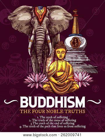 Buddhism Religious Symbols, Sketch. Vector Golden Buddha Or Monk Statue In Zen Meditation, White Ele