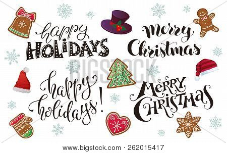 Hand Written New Year Phrases. Greeting Card Text  With Santa Hats And Gignerbread Icons Isolated On