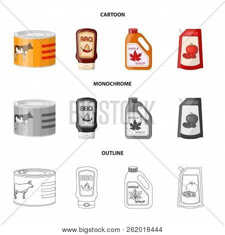 Vector Design Of Can And Food Symbol. Set Of Can And Package Stock Vector Illustration.
