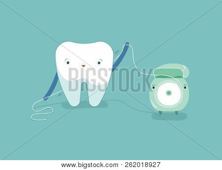 Tooth Using Dental Floss For White Teeth, Dental Vector Concept.