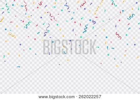 Colorful Confetti. Festive Of Falling Shiny Confetti Isolated On Transparent Background. Holidays De