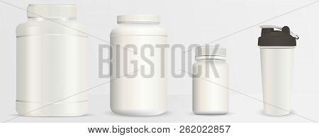 Sports Nutrition Bottles Mockup Set. Realistic Blank Vector Illustration. Milk White Plastic Contain