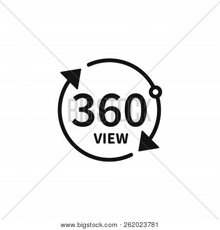 360 Degree Views Of Vector Circle Icons Isolated From The Background. Signs With Arrows To Indicate