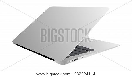Realistic Laptop Incline 35 Degree Isolated On White Background. High Quality Vector Illustration. C