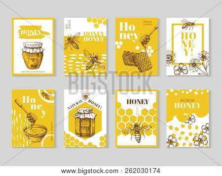 Hand Drawn Honey Posters. Natural Honey Packaging With Bee, Honeycomb And Hive Vector Design. Illust