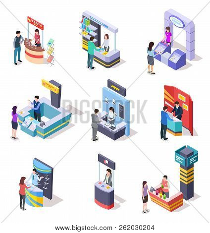Isometric Expo Stands. Exhibition Demonstration Stand And Trade Stalls With People. 3d Vector Set Of