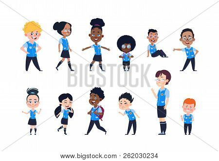 School Kids. Cartoon Happy Children In Uniform. Girls And Boys Pupils Isolated Vector Characters. Sc