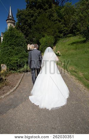 Back View Of Wedding Couple Bride And Groom